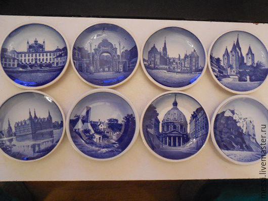 Винтажные предметы интерьера. Ярмарка Мастеров - ручная работа. Купить 8 коллекционных мини тарелок Royal Copenhagen, винтаж. Handmade.