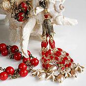 """Украшения ручной работы. Ярмарка Мастеров - ручная работа """"ЯРКОЕ НАСТРОЕНИЕ"""" колье - цепь красный коралл, бусы, ожерелье. Handmade."""