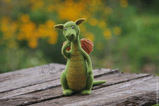 Сказочные персонажи ручной работы. Ярмарка Мастеров - ручная работа. Купить игрушка из шерсти Дракоша. Handmade. Зеленый, день рождения