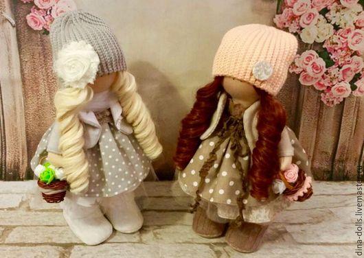 """Куклы тыквоголовки ручной работы. Ярмарка Мастеров - ручная работа. Купить Инетрьерные куклы """"Сестрички"""". Handmade. Комбинированный, интерьерная кукла"""