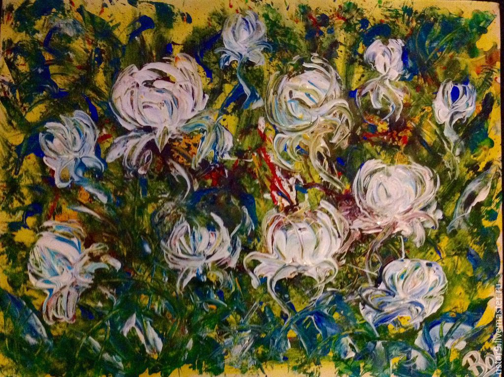White peonies.mixed media, Pictures, Moscow,  Фото №1
