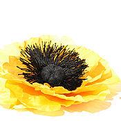 Украшения ручной работы. Ярмарка Мастеров - ручная работа Заколка цветок. Брошь цветок. Желтый Мак.. Handmade.