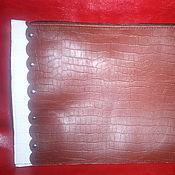 """Сумки и аксессуары ручной работы. Ярмарка Мастеров - ручная работа Клатч  кожаный """"Бело коричневый кроко"""", Чехол для iPad. Handmade."""