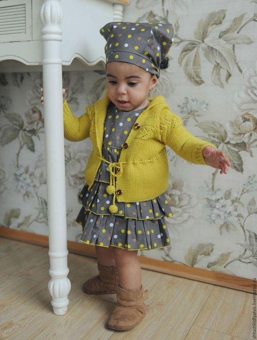 Одежда для девочек, ручной работы. Ярмарка Мастеров - ручная работа. Купить Платье с косынкой в горошек и кофточка с капюшоном. Handmade. Комбинированный