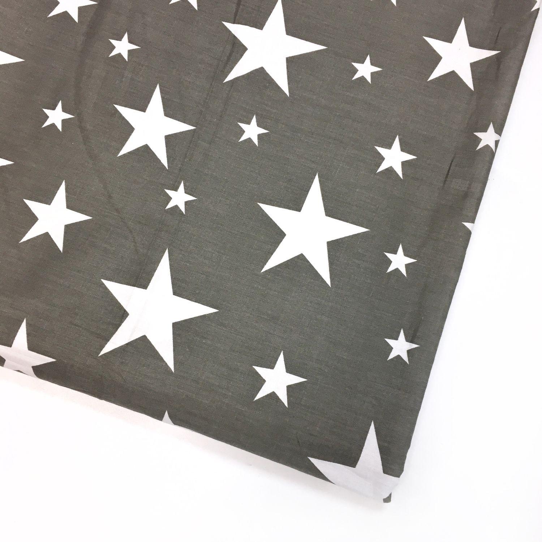 Ткань хлопок Белые звезды серый фон. Сатин. 100% Хлопок, Ткани, Москва,  Фото №1
