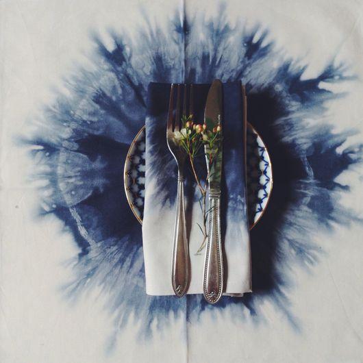 Текстиль, ковры ручной работы. Ярмарка Мастеров - ручная работа. Купить Салфетки шибори 40х40. Handmade. Тёмно-синий