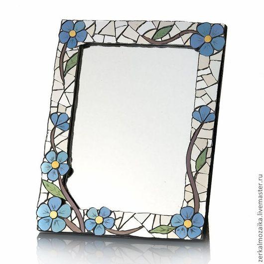 Настольное зеркало с цветочным орнаментом, мозаика, незабудки