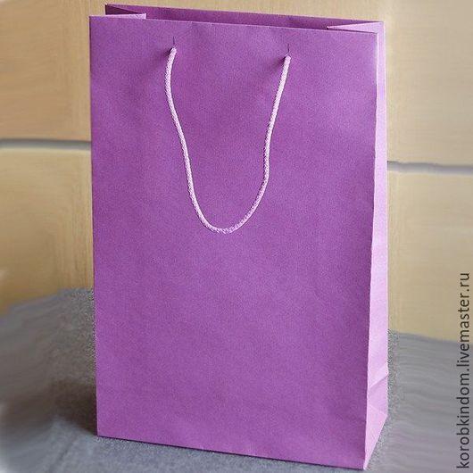 Упаковка ручной работы. Ярмарка Мастеров - ручная работа. Купить Бумажный пакет 25х39х10 сиреневый с ручками веревочными. Handmade. Пакет