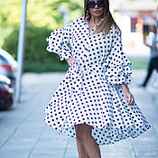 Одежда handmade. Livemaster - original item Dress, Elegant dress, White polka dot dress. Handmade.
