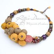 Украшения handmade. Livemaster - original item Mustard necklace from felt and Jasper, amethyst, agate, lava, yellow. Handmade.
