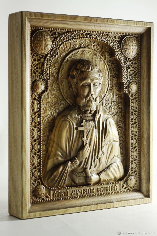 Carved icon 'Saint Eugene the Martyr', ash tree array, Icons, Orekhovo-Zuyevo,  Фото №1