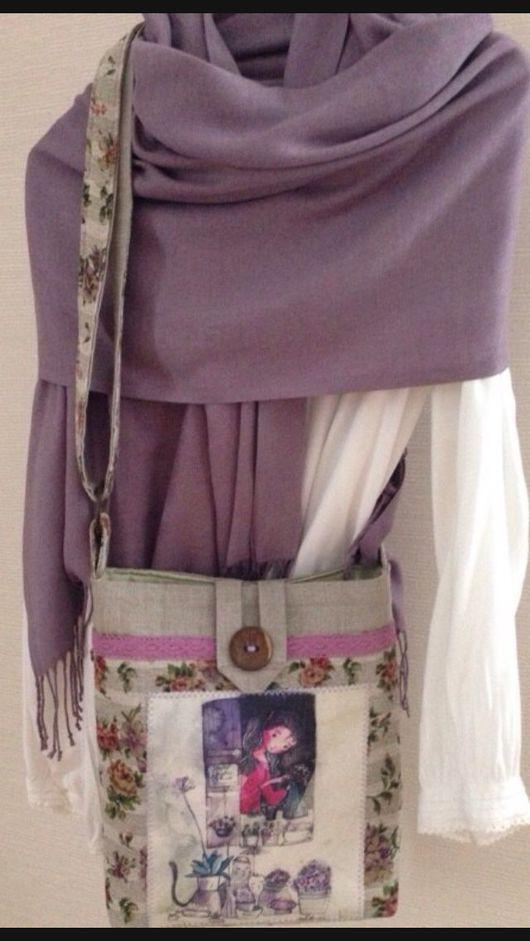 Женские сумки ручной работы. Ярмарка Мастеров - ручная работа. Купить льняная сумочка с девушкой. Handmade. Бледно-розовый