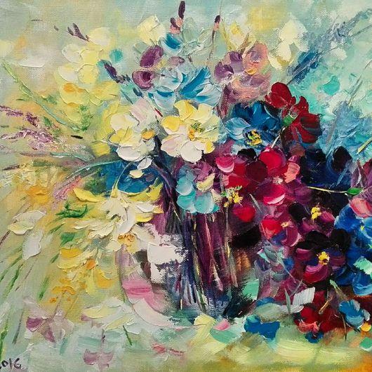 Картины цветов ручной работы. Ярмарка Мастеров - ручная работа. Купить Летнее воспоминания. Handmade. Букет, интерьер, масло
