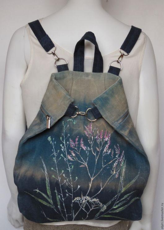 рюкзак льняной, сумка-трансформер, джинсовый стиль, вощёный лён, травы Прованса,