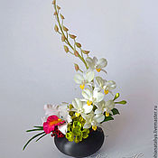 Цветы и флористика ручной работы. Ярмарка Мастеров - ручная работа Композиция с орхидеями.Полимерная глина. Handmade.
