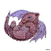 """Украшения ручной работы. Ярмарка Мастеров - ручная работа Брошь """"Пурпурный дракоша"""". Вышитая бисером брошь.. Handmade."""