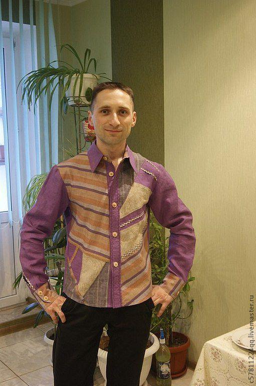 """Для мужчин, ручной работы. Ярмарка Мастеров - ручная работа. Купить Рубаха в стиле """"Печворк"""". Handmade. Сиреневый, рубаха"""