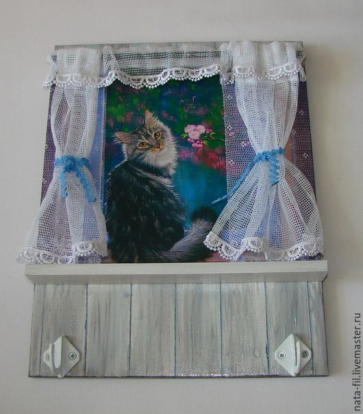 """Прихожая ручной работы. Ярмарка Мастеров - ручная работа. Купить Ключница """"Кошка на окошке"""". Handmade. Ключница ручной работы, прихожая"""
