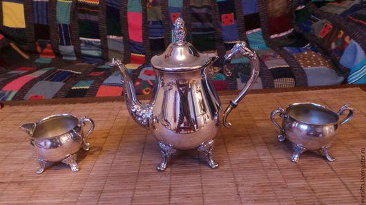 Винтажная посуда. Ярмарка Мастеров - ручная работа. Купить Винтажный металлический набор с чайником.. Handmade. Серебряный, английский