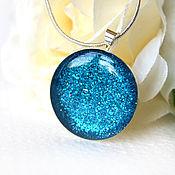 Украшения handmade. Livemaster - original item Round pendant blue glitter. Handmade.