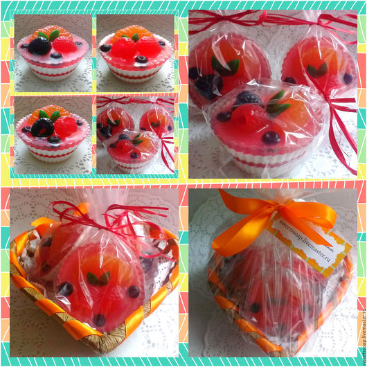 Мыло ручной работы. Ярмарка Мастеров - ручная работа. Купить Набор мыла Пирожные фруктово-ягодные в клубничной глазури. Handmade.