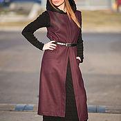 Одежда handmade. Livemaster - original item Long cashmere vest, Dark red vest - VE0019WL. Handmade.