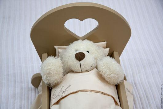 Развивающие игрушки ручной работы. Ярмарка Мастеров - ручная работа. Купить кровать для куклы, бежевая. Handmade. Бежевый, кровать из дерева