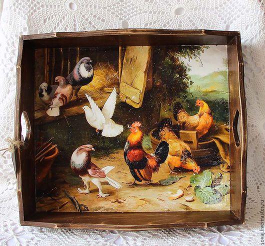 """Кухня ручной работы. Ярмарка Мастеров - ручная работа. Купить Поднос"""" Птичий двор"""". Handmade. Подарок, разноцветный, поднос для кухни"""