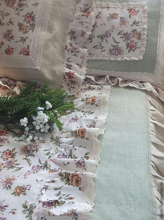 """Текстиль, ковры ручной работы. Ярмарка Мастеров - ручная работа. Купить Комплект в спальню""""Утро для тебя""""(шебби,винтаж). Handmade. Бежевый"""