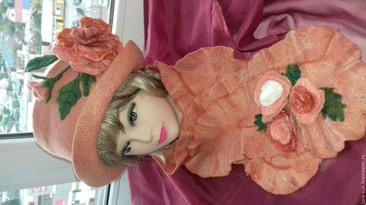 """Шляпы ручной работы. Ярмарка Мастеров - ручная работа. Купить """"Нежность осени"""". Handmade. Однотонный, бант, нежность, красота, персиковый"""