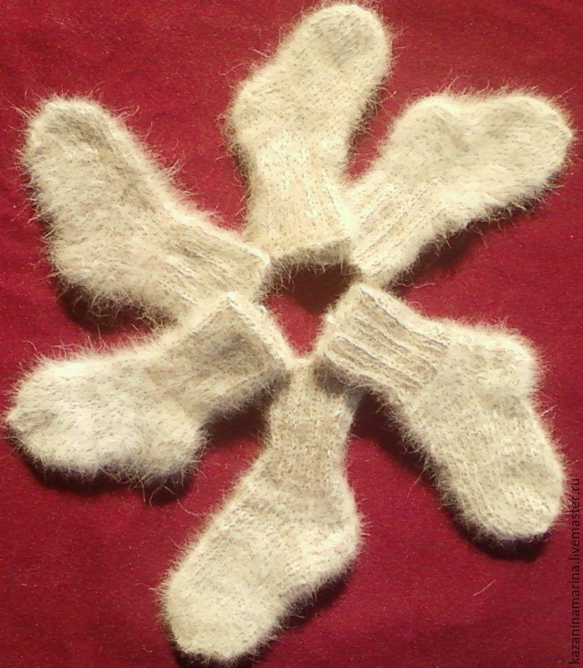 Носки, Чулки ручной работы. Ярмарка Мастеров - ручная работа. Купить Детские носочки из собачей шерсти. Handmade. Бежевый