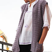 Одежда handmade. Livemaster - original item The vest is handmade with pockets crocheted from the Peruvian Alpaca. Handmade.