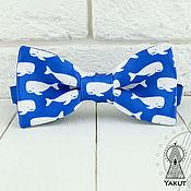 Аксессуары ручной работы. Ярмарка Мастеров - ручная работа Галстук бабочка Киты на ярко-синем фоне, бабочка синяя. Handmade.