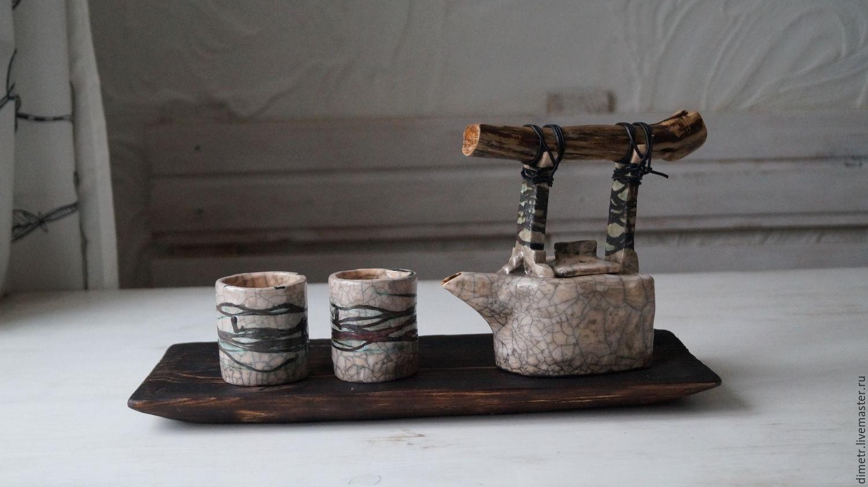 """Чайный набор """"река жизни"""" чайник, стаканчики, доска, Сервизы, Бахчисарай,  Фото №1"""