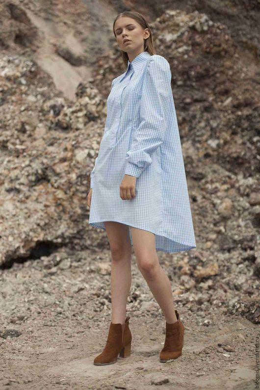 Платья ручной работы. Ярмарка Мастеров - ручная работа. Купить Платье-рубашка. Handmade. Голубой, голубое платье, летнее платье