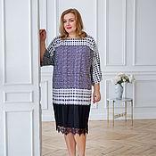 Одежда handmade. Livemaster - original item Viscose dress with a spectacular Polka dot print Plus Size. Handmade.
