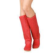Обувь ручной работы handmade. Livemaster - original item Summer perforated leather boots PIZZO red. Handmade.