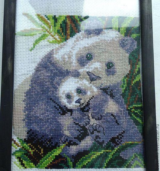 Животные ручной работы. Ярмарка Мастеров - ручная работа. Купить Семейство панд. Handmade. Вышивка крестом, мулине