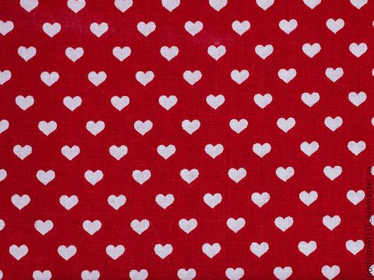 Шитье ручной работы. Ярмарка Мастеров - ручная работа. Купить Ткань Хлопок Сердечки на красном Чехия. Handmade. Хлопок
