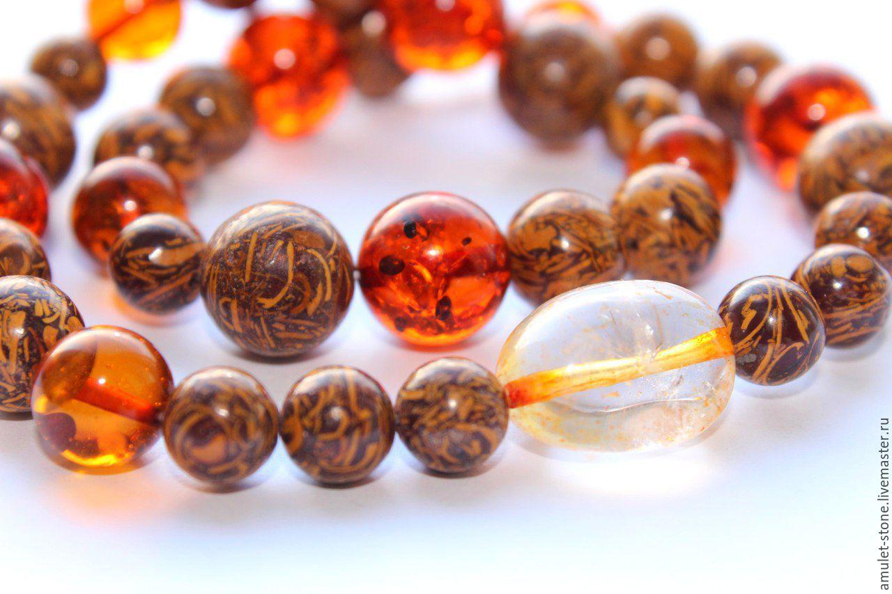 Браслет амулет с янтарем На удачу, из натуральных камней