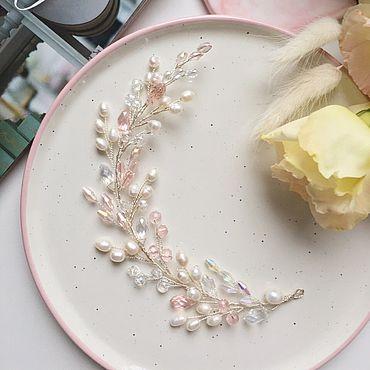 Свадебный салон ручной работы. Ярмарка Мастеров - ручная работа Веточка в розовых оттенках. Handmade.