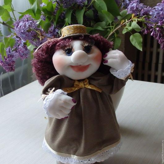 Подвески ручной работы. Ярмарка Мастеров - ручная работа. Купить Мадам Брошкина(кукла -удача). Handmade. Тёмно-фиолетовый, интерьерное украшение