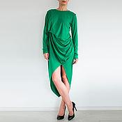 Одежда ручной работы. Ярмарка Мастеров - ручная работа Платье с длинным рукавом зеленое платье Платье макси Платье на осень. Handmade.