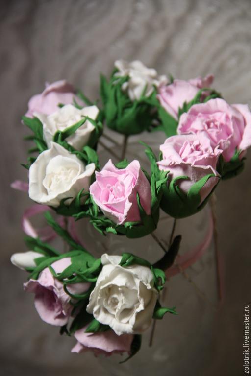 Заколки ручной работы. Ярмарка Мастеров - ручная работа. Купить Шпильки для волос с розами из фоамирана.. Handmade. Разноцветный, свадебное украшение