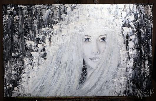 """Люди, ручной работы. Ярмарка Мастеров - ручная работа. Купить Картина """"Ниоткуда..."""". Handmade. Чёрно-белый, портрет девушки"""