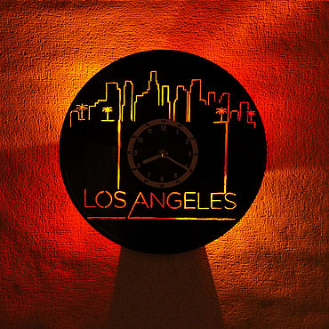 For home and interior handmade. Livemaster - original item Wall clock with LED backlight from Los Angeles records. Handmade.