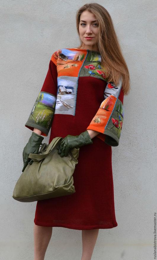 """Платья ручной работы. Ярмарка Мастеров - ручная работа. Купить """"  Времена года . Коллаж  """". Handmade. Бордовый, пейзаж"""