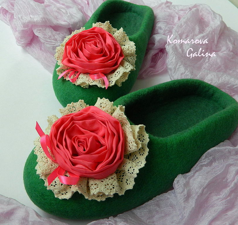women's felted Slippers 'rose of crimson', Slippers, Moscow,  Фото №1