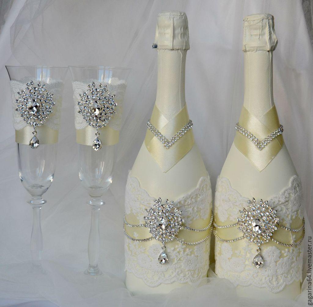 Украсить бутылку шампанского к свадьбе 18 фотография