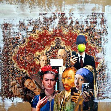 Картины и панно ручной работы. Ярмарка Мастеров - ручная работа Картина в современном стиле в технике коллаж Селфи. Handmade.